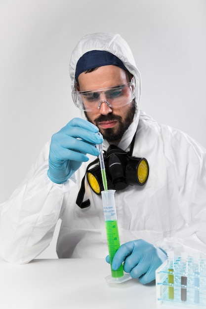 Portrait of adult male taking medical samples Free Photo