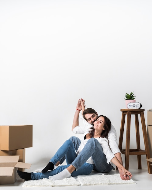 Portrait of adult man and woman together at home Free Photo