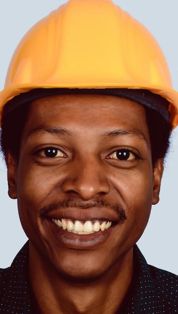 Portrait of afro american architect in hard hat Premium Photo