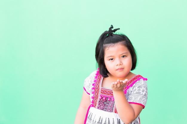 Portrait asia girls dressed in thai  costumes Premium Photo