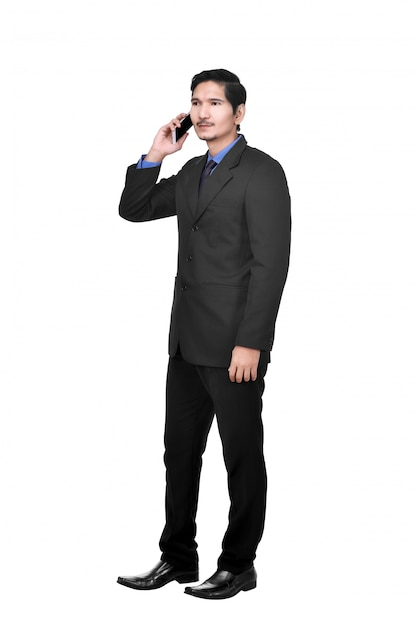 Portrait of asian businessman talking on the cellphone Premium Photo