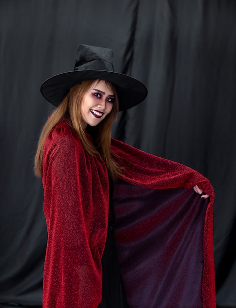 Portrait of asian woman in halloween cloth Premium Photo