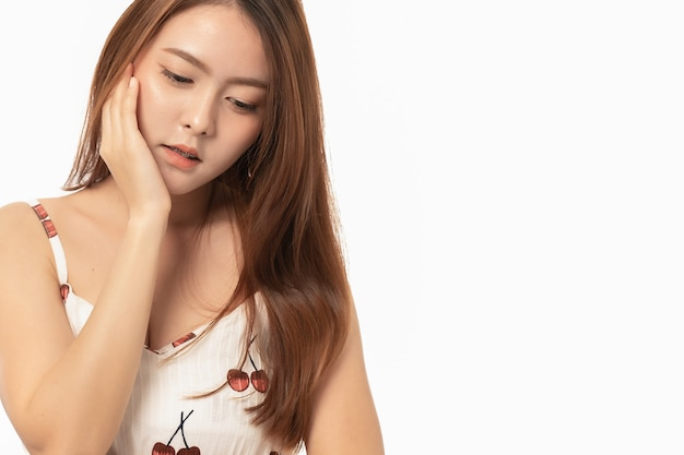 Portrait of asian woman suffering from toothache pain on white Premium Photo