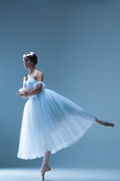 Portrait of the ballerina on blue Free Photo