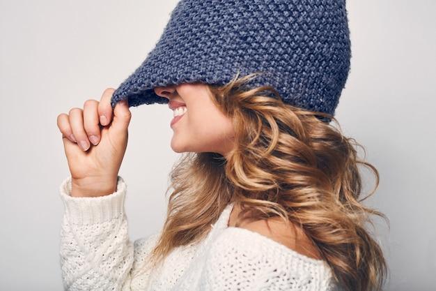 Portrait of beautiful blond woman in sweater Premium Photo