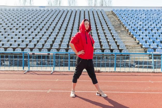 Portrait of a beautiful caucasian girl athlete Premium Photo