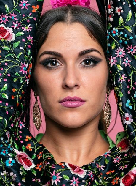 Portrait of beautiful flamenca looking at camera Free Photo
