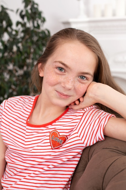 Portrait of a beautiful redhead teen girl. cute girl