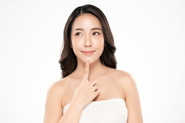 Portrait Beautiful Young Asian Woman Clean Fresh Bare Skin Concept Asian Girl Beauty Face Skincare And Health Wellness Facial Treatment Perfect Skin Natural Make Up Premium Photo