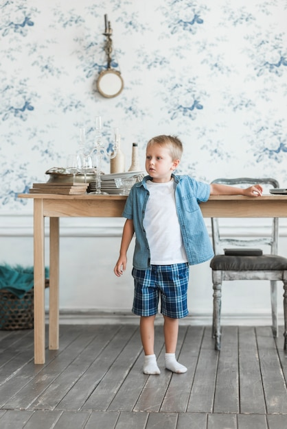 Portrait of a boy standing near the table in the living room Free Photo
