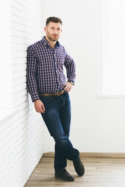Portrait of brutal bearded man Premium Photo