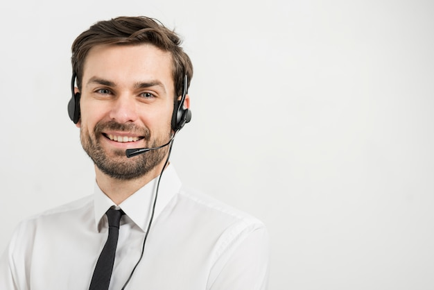 Portrait of call center agent Free Photo
