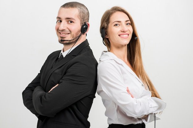 Portrait of call center agents Free Photo