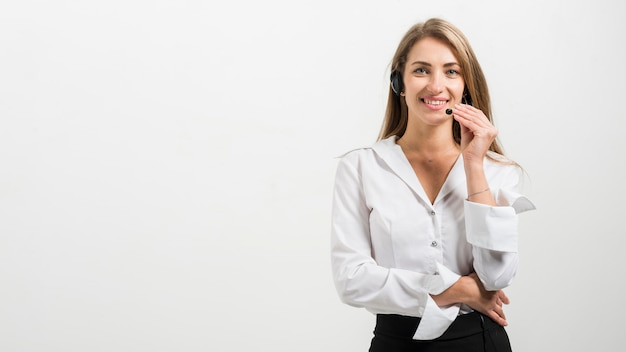 Portrait of call center woman Free Photo