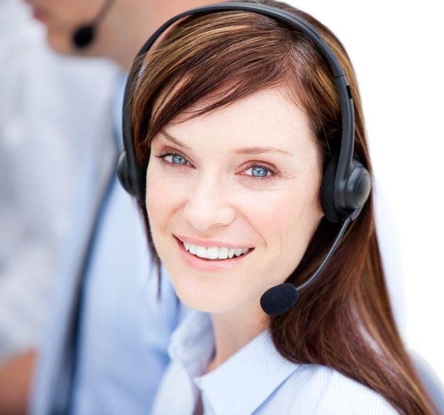 Portrait of caucasian businesswoman with headset on Premium Photo