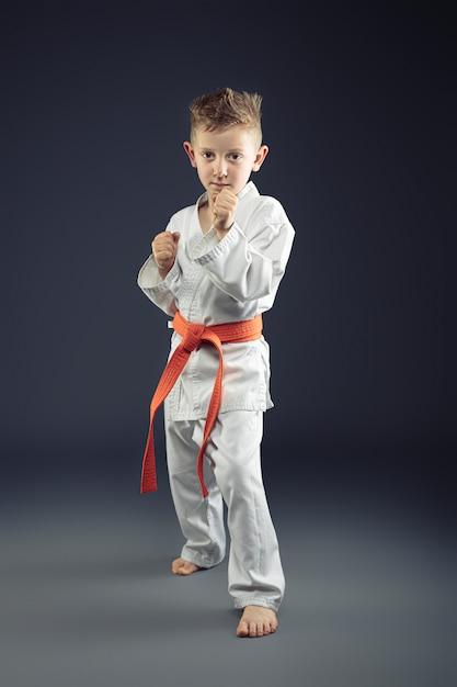 Portrait of a child with kimono practicing martial arts Premium Photo