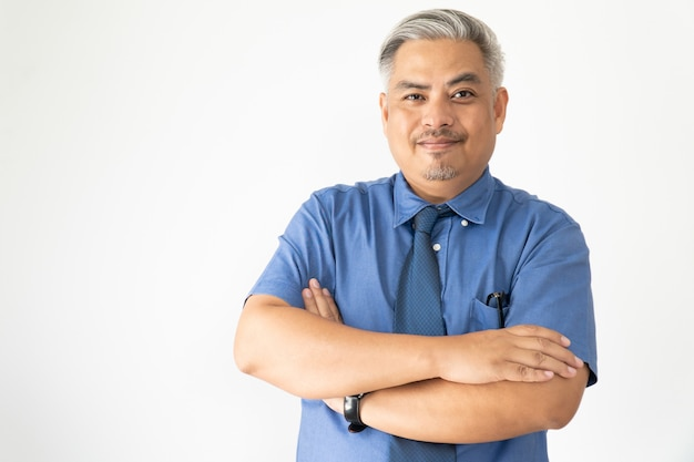 Portrait confident asian business man wearing glasses and short sleeve shirt smiling on white Premium Photo