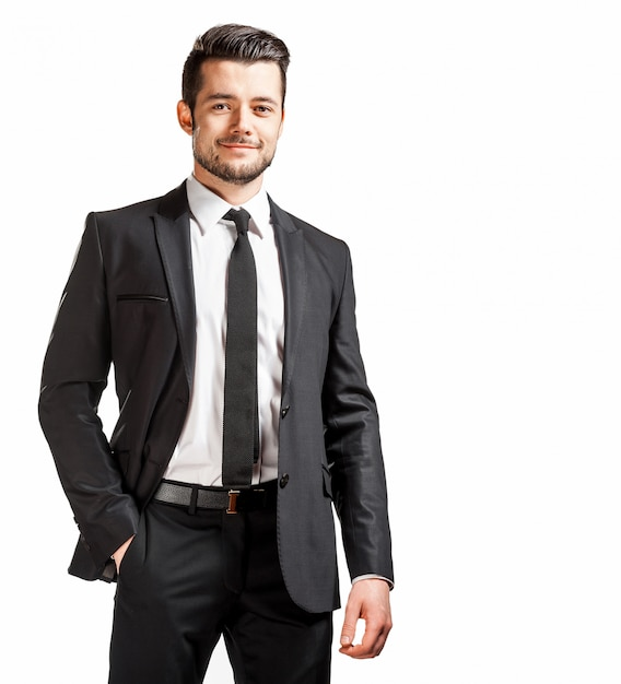 Portrait of confident handsome man in black suit with bowtie Premium Photo