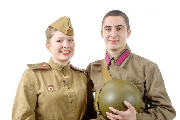 Portrait couple in russian military uniform Premium Photo
