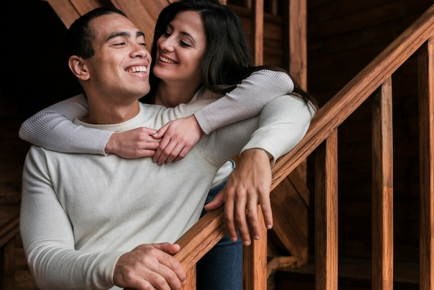 Portrait of couple together in love Free Photo