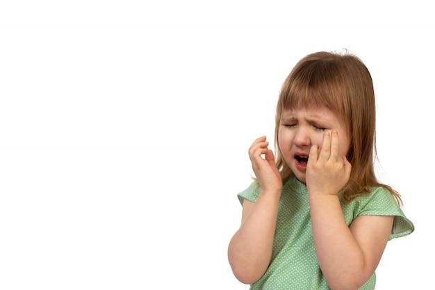 Portrait of crying baby girl on white Premium Photo