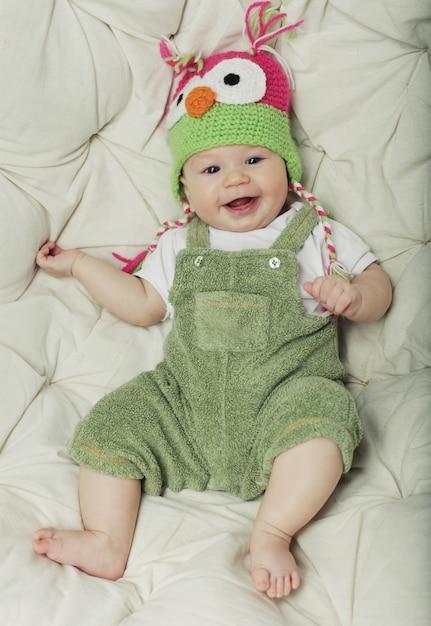 Portrait of cute happy 5 month old baby Premium Photo