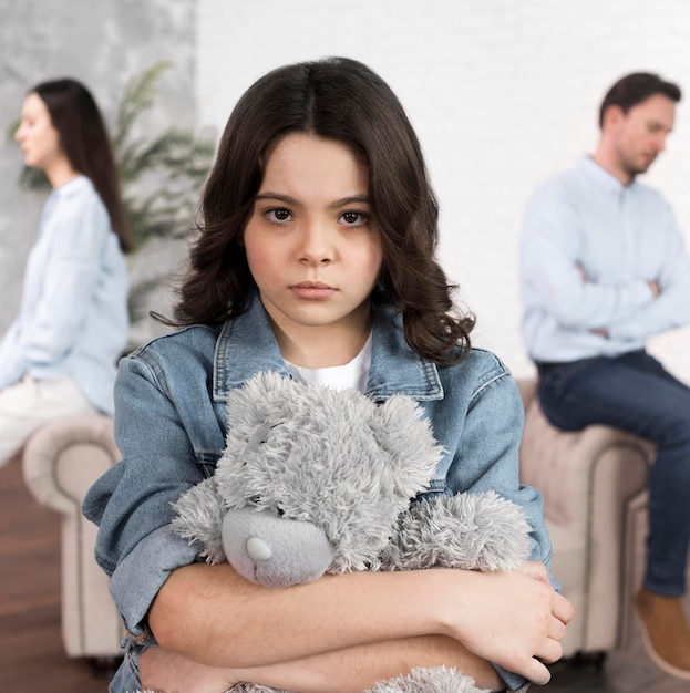Portrait of daughter sad for family breakup Free Photo