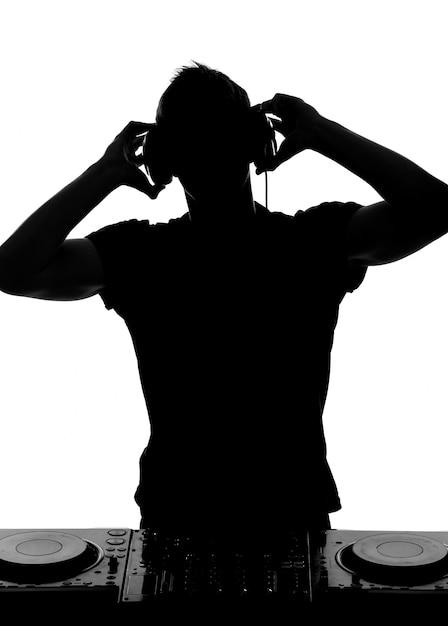 Portrait of dj headphones and dj setting. Premium Photo