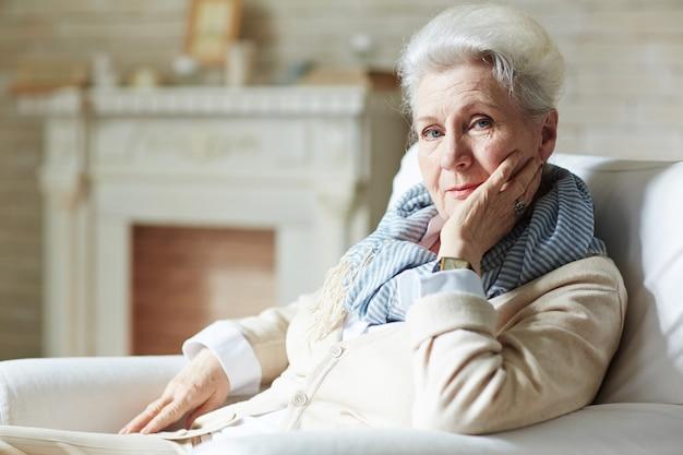 Portrait of elegant-looking elderly woman Free Photo