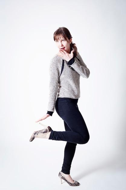 Portrait of a european girl on a white background Premium Photo