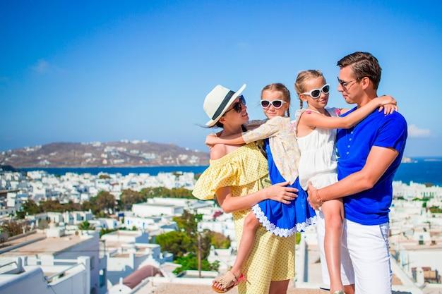 Portrait of family on vacation in mykonos Premium Photo