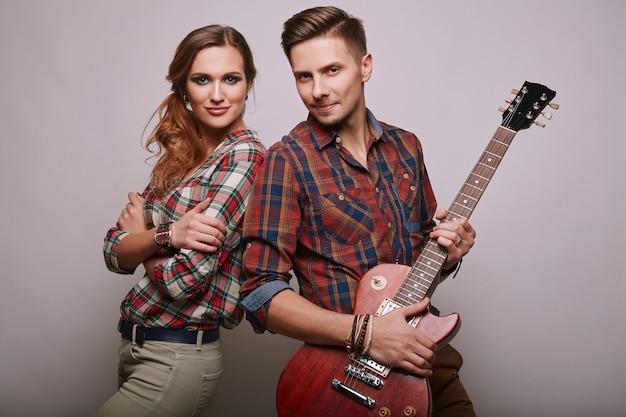 Portrait of fashion glamor stylish hipster young couple Premium Photo