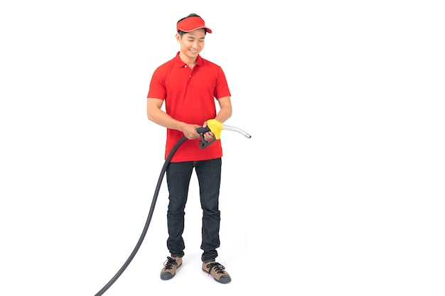 Portrait of gas station worker and service isolated on white background Premium Photo