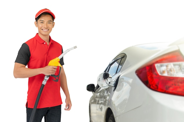 Portrait of gas station worker and service isolated Premium Photo