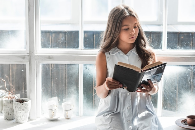 Portrait of a girl sitting in front of window reading book Free Photo