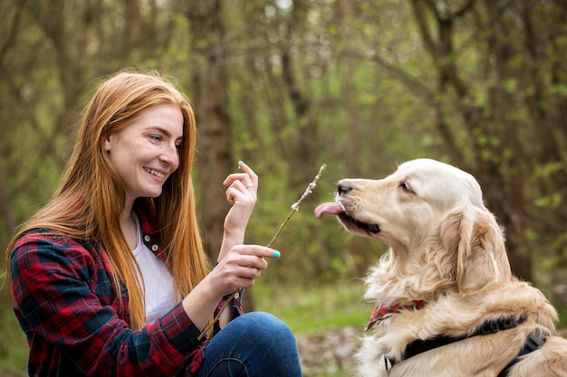 Portrait of a girl with a dog Premium Photo