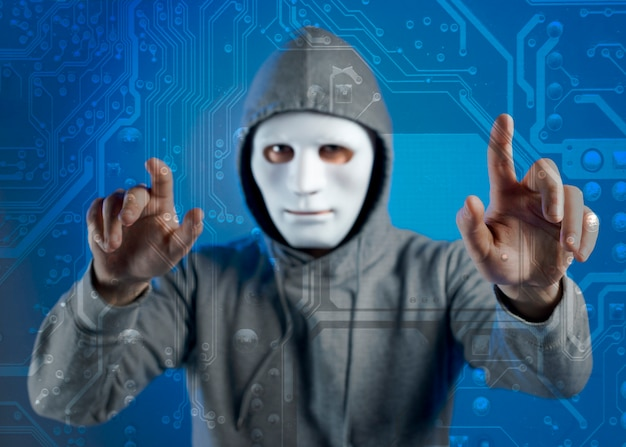 Portrait of hacker with mask Free Photo