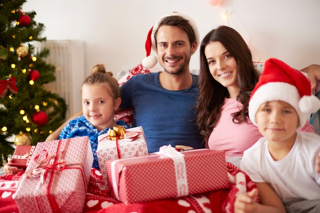 Portrait of happy family at christmas Free Photo