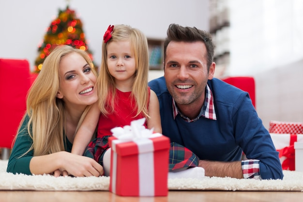 Portrait of happy family at home during christmas Free Photo