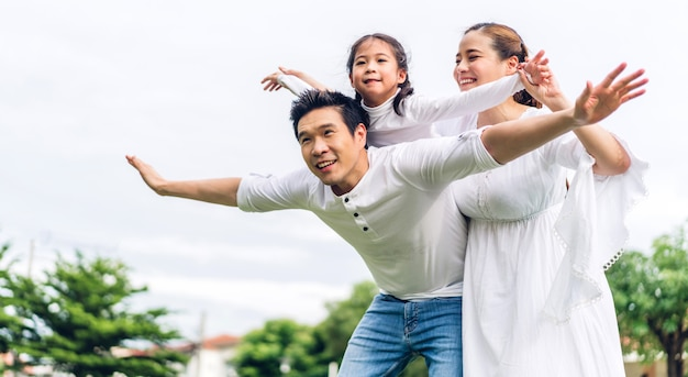 Portrait of happy family playing and having fun Premium Photo