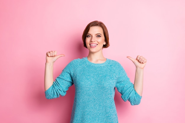 Portrait of her she nice attractive pretty lovely glad cheerful cheery brown-haired girl pointing at herself Premium Photo