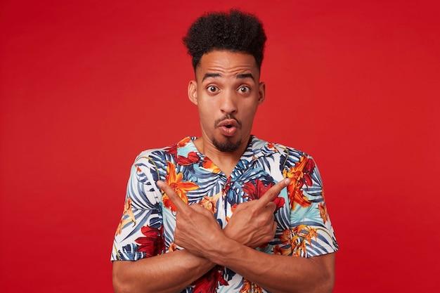 Портрет, если молодой шокированный афроамериканец в гавайской рубашке смотрит в камеру с удивленным выражением лица, стоит на красном фоне, указывает в разные стороны. Бесплатные Фотографии