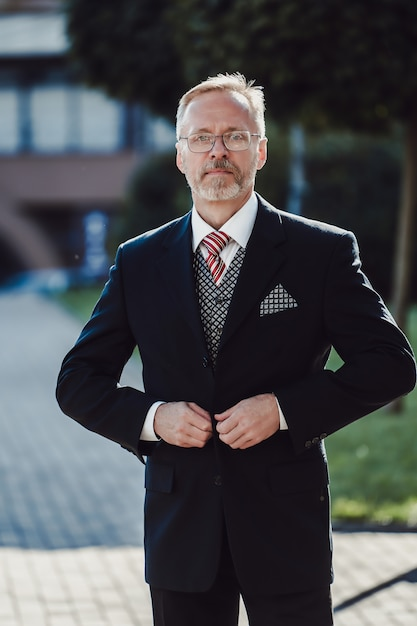 Portrait of intelligent wealthy and thoughtful attractive mature businessman with grey hair. Premium Photo
