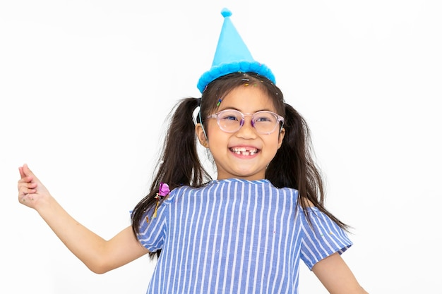 Portrait of kid girl smiling and funny on white background Premium Photo