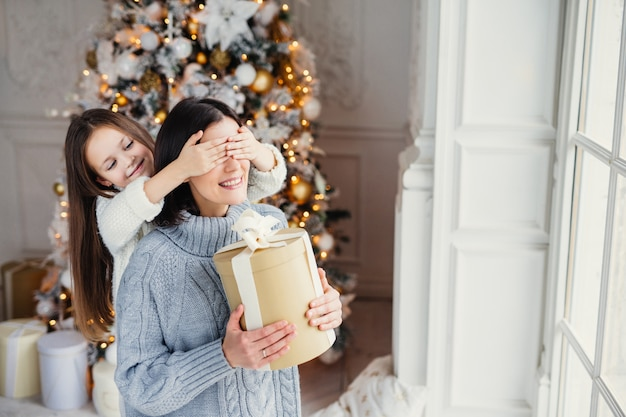 Portrait of little girl closes mother`s eyes, congratulates her with new year or christmas, stand near window in living room, have real miracle and feeling of holiday. winter, celebration, season Premium Photo