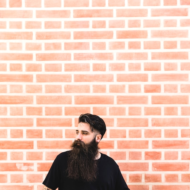 Portrait of a long bearded man in front of brick wall Free Photo