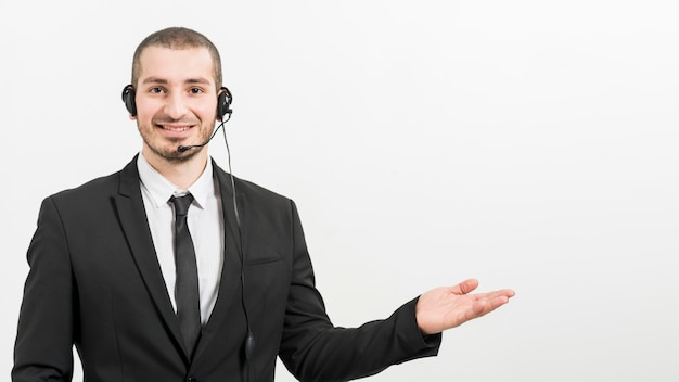 Portrait of male call center agent Free Photo