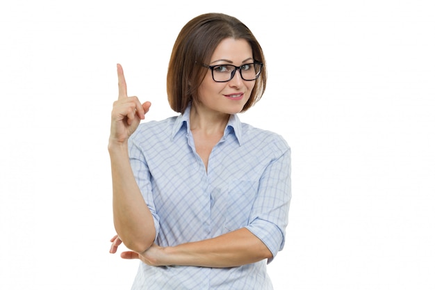 Portrait of mature businesswoman showing index finger up Premium Photo