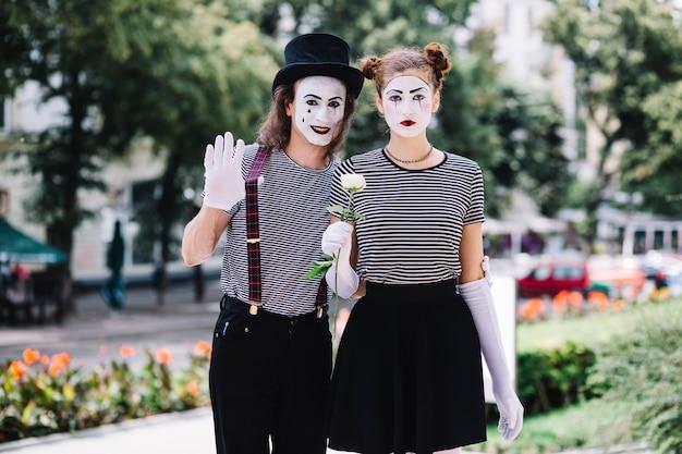 Portrait of a mime couple Free Photo