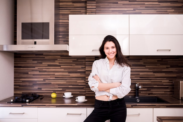 Portrait of modern woman at home Free Photo